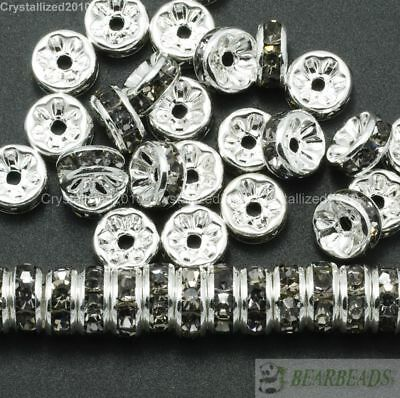 100 Czech Crystal Rhinestone Silver Rondelle Spacer Beads 4mm 5mm 6mm 8mm 10mm 7