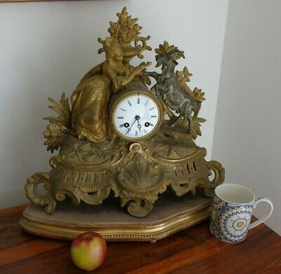 Antique Classical Mantel Clock Japy Freres  D Honneur Gilt Goat  French Art Girl 2