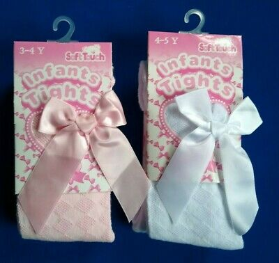 Girls Spanish Style Tights Diamond Bow Age 0 1 2 3 4 5 Years White Pink Rose NEW 4