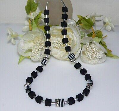 Würfelkette Halskette Glas schwarz diagonal schwarz weiß grau marmoriert  301.