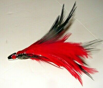 3 Williamson Trolling Feather Fishing Lure Tuna Mahi Dorado Dolphin Red Green