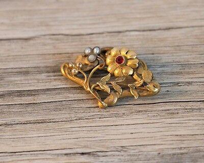 Antike Jugendstil Brosche Floral - Wien um 1900 - Blütenform Gold Rubin Perlen