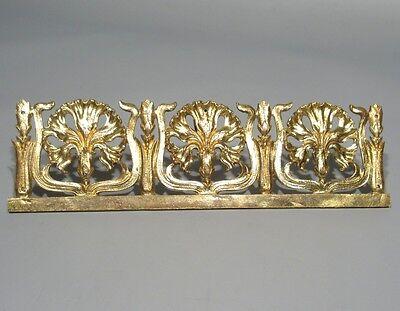 Antique French Art Nouveau Gilded Bronze Furniture Decoration, Carnations 2