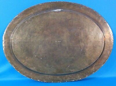 """Vintage Chinese Hand Carved Brass 29"""" Rimmed Oval Table Tray/Top 7"""