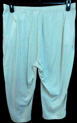 Coral bay beige semi see through drawstring waist linen blend crop pants 1X 2
