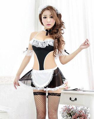 Set Costume Completo Cameriera Maid Serva Sexy Lingerie Calze a Rete Pizzo Nero 3