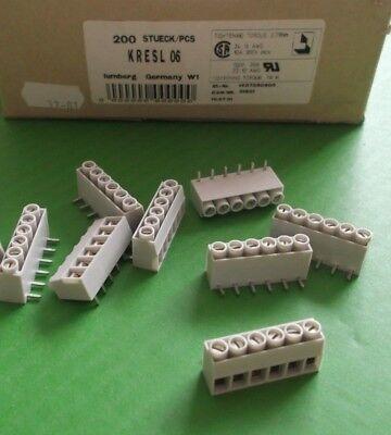 Terminal Block 6 Way 15 Amp 5mm KRESL06 Right Angle PCB Lumberg x 25pcs @ £0.04p 2