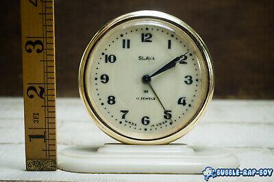 Vintage Clock Slava Mid Century Ussr 11 Jewels Miniature Clock Film Prop 7