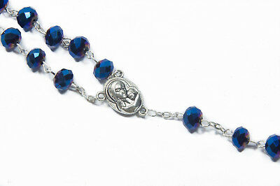Deep Blue Crystal Beads Rosary Catholic Necklace Holy Soil Medal Cross Crucifix 6