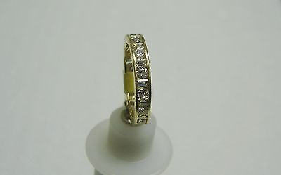 14K Yellow Gold Channel Set Baguette/Round Cubic Zirconia Ring Size 8 G32-R 7