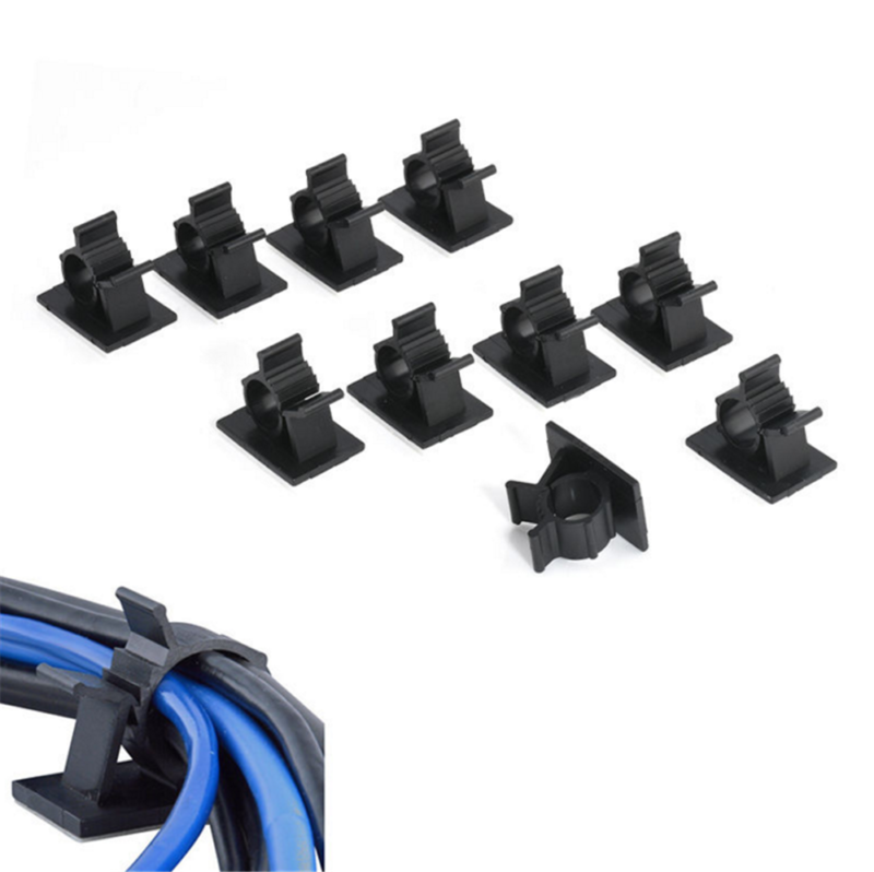 10x Black Cable Clips Adhesive Cord Management Wire Holder Organizer Clamp 2