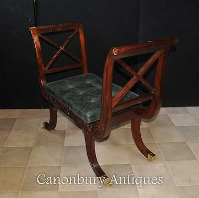 Pair Regency Stools Seats in Mahogany Day Chair 4