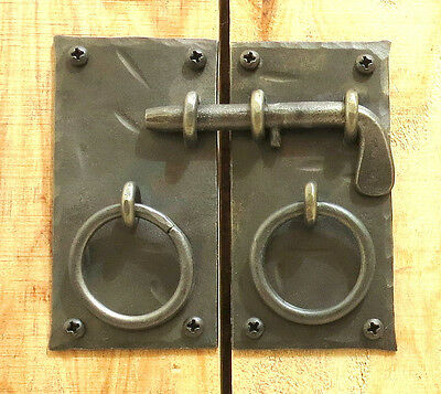 "HANDMADE 4.15""  SQUARE CABINET DOOR LATCH + HANDLES Antique Iron Cupboard Lock 3"