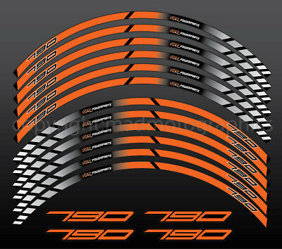 790 Duke motorcycle wheel decals rim stickers stripes laminated set orange 2