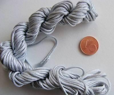 120m Fil nylon tressé 1,5mm GRIS CLAIR 10 echeveaux 12m environ DIY bijoux 2