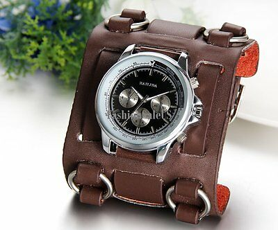 Roman Numerals Personality Decoration Mens Sport  Wrist Watch Wide Leather Band 2
