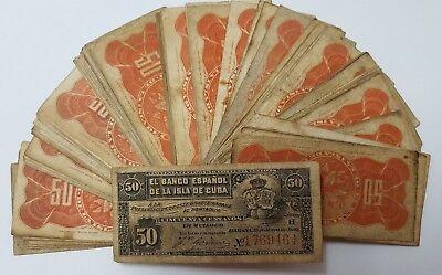ESPAÑA COLONIAL. 1 billete 50 centavos Peso Alfonso XIII año 1896 Banco Español. 2