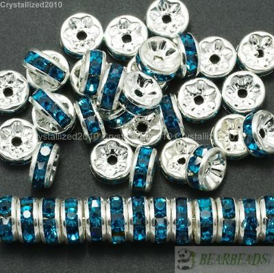 100 Czech Crystal Rhinestone Silver Rondelle Spacer Beads 4mm 5mm 6mm 8mm 10mm 8