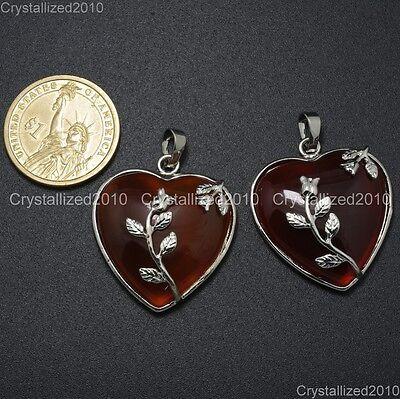Natural Gemstone Heart Silver Plated Flower Reiki Chakra Pendant Charm Beads 2