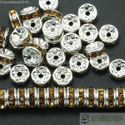 100 Czech Crystal Rhinestone Silver Rondelle Spacer Beads 4mm 5mm 6mm 8mm 10mm 9