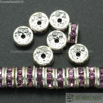 100 Czech Crystal Rhinestone Silver Rondelle Spacer Beads 4mm 5mm 6mm 8mm 10mm 12