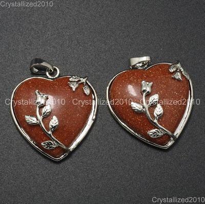 Natural Gemstone Heart Silver Plated Flower Reiki Chakra Pendant Charm Beads 4