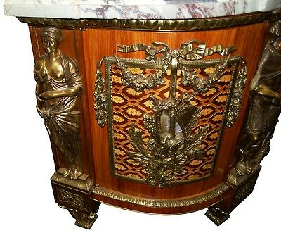 French Louis XVI Cabinets, a Pair, Large with Marble Top #5969 5