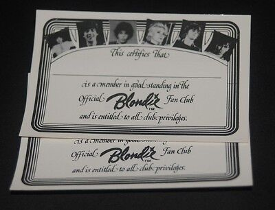 Vintage 1979 NEW Official Blondie Fan Club Membership Certificate Debbie Harry
