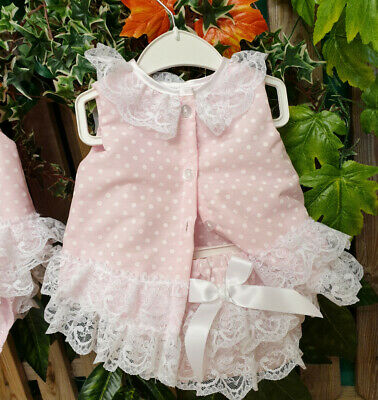 DREAM 0-5 YEARS baby girls summer pink spot angel top frilly pants  reborn dolls 2