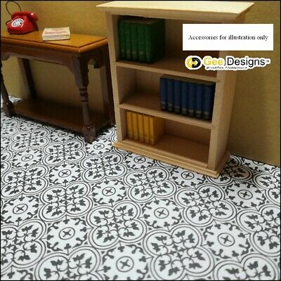 x4 Sheets 1/12th Self Adhesive Dolls House Clover Tiled Effect  Floor paper, 2
