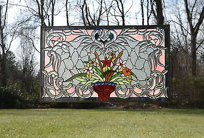 "34.75""L x 20.75""H Tiffany Style Beveled stained glass window panel Flower"