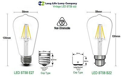 Antique Style Edison Vintage LED Light Bulbs Industrial Retro Lamps B22 or E27 4
