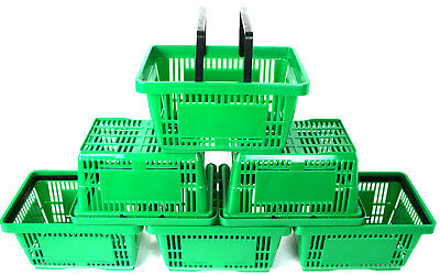 2 Handle Green Plastic Shopping Basket Retail Supermarket Use Hand Carry 4