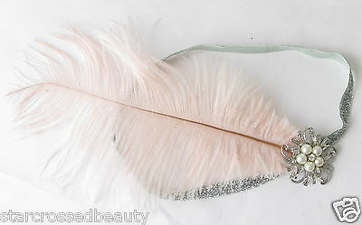 Pink Silver Ostrich Feather Flapper Headpiece 1920s Vintage Headband Pearl k66 8