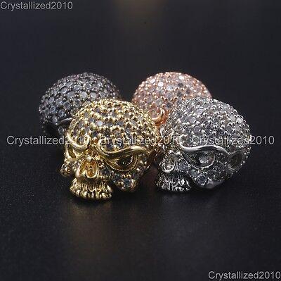 Zircon Gemstones Pave Solid Round Drilled Skull Bracelet Connector Charm Beads 5