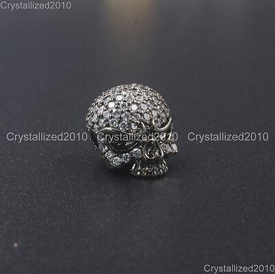 Zircon Gemstones Pave Solid Round Drilled Skull Bracelet Connector Charm Beads 11