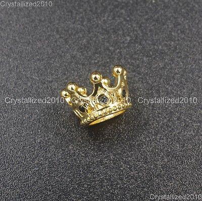 Zircon Gemstones Pave Queen Crown Big Hole Bracelet Connector Charm Beads 6x11mm 6