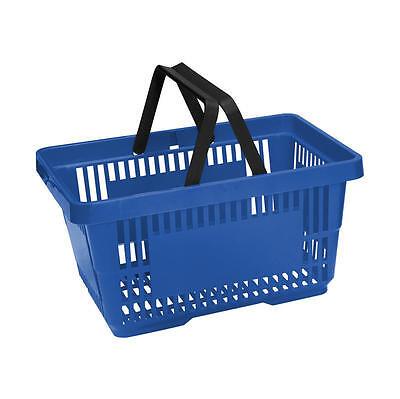 20 x Blue Plastic Shopping Basket with FREE Black Metal Stacker 2