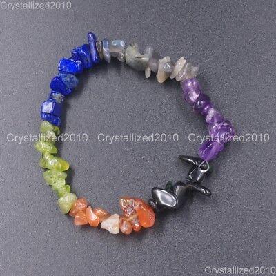 Handmade 5-8mm Mixed Natural Gemstone Chip Beads Stretchy Bracelet Healing Reiki 2