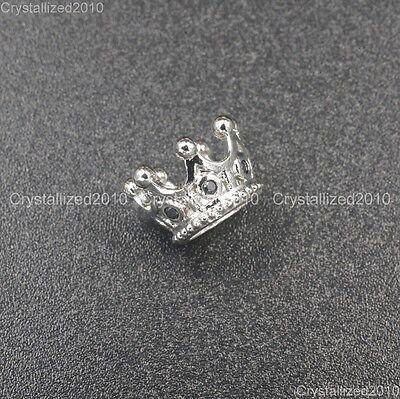 Zircon Gemstones Pave Queen Crown Big Hole Bracelet Connector Charm Beads 6x11mm 4