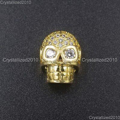 Zircon Gemstones Pave Horizontal Drilled Skull Bracelet Connector Charm Beads 9