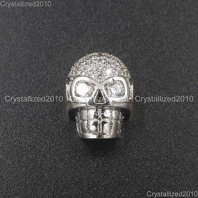 Zircon Gemstones Pave Horizontal Drilled Skull Bracelet Connector Charm Beads 6