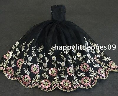Embroidered Barbie Doll Wedding Party Evening Dress/Clothes/Outfit Black New 2