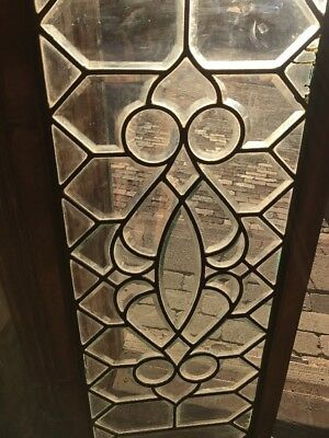 Sg 1554 Antique All Beveled Glass Transom Window In Zinc Caning 17 X 43