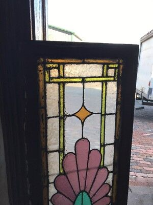 Sg1793 Antique Stained Glass Transom Window Purple Flower 18 High By 58 Wide