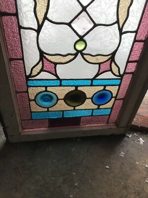 Sg1763 Antique Transom Window Stain Glass Rondell'S Bevels 21.75 X 52.5