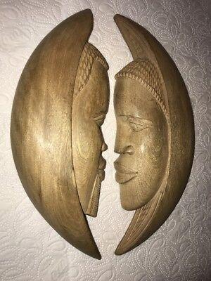 Internationale Antiq. & Kunst Afrikanische Handwerkskunst Gesichtsmaske Aus Ebenholz
