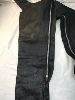 Hot Leder Schwarz Chaps Größe Medium M Motorrad Biker Pferd Rücken