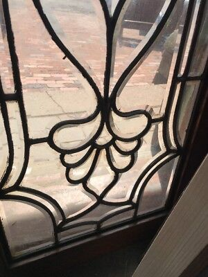SG 2348 match Pair antique all beveled glass transom window 18.25 x 41