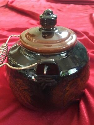 Japanese Teapot Glazed Red Clay Grape Leaves Design Black & Brown Vintage